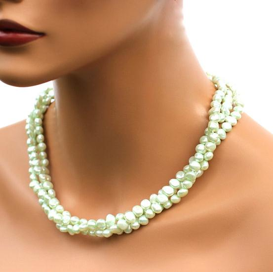 Unique Pearls jewellery Store Mint Green Baroque Genuine Freshwater Pearl Necklace Charming Women Gift Fine Jewelry