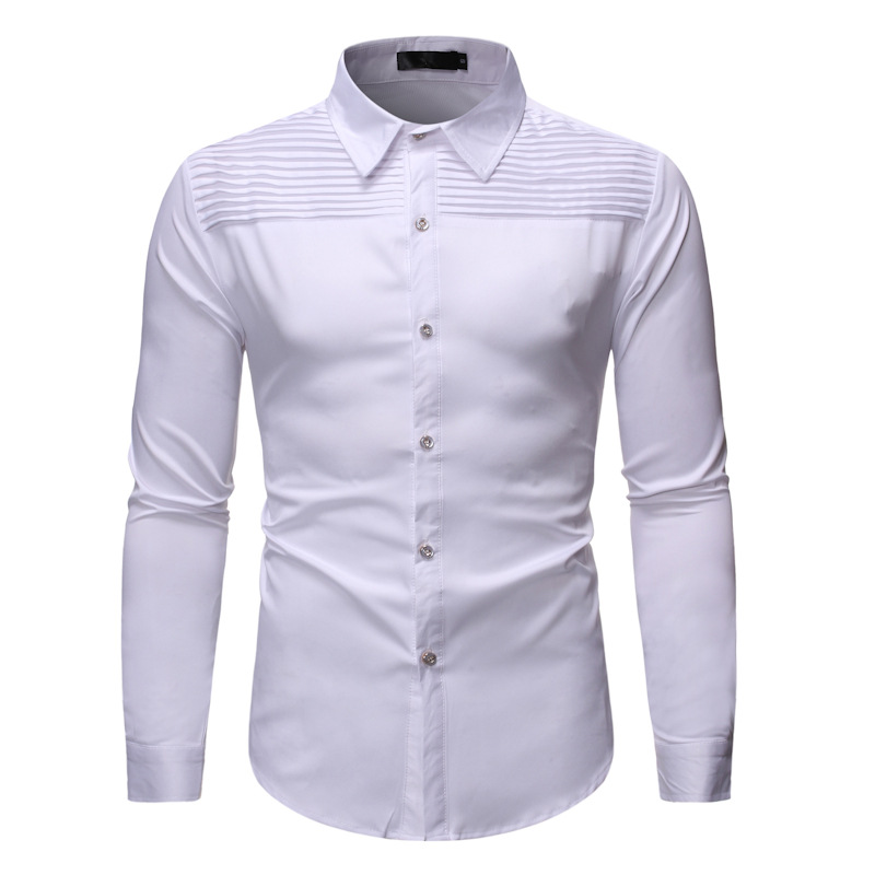 Men's Casual Long Sleeve Button Down Dress Shirts Camisa Masculina 2020 Brand New White Shirt Men Business Wedding Tuxedo Shirt