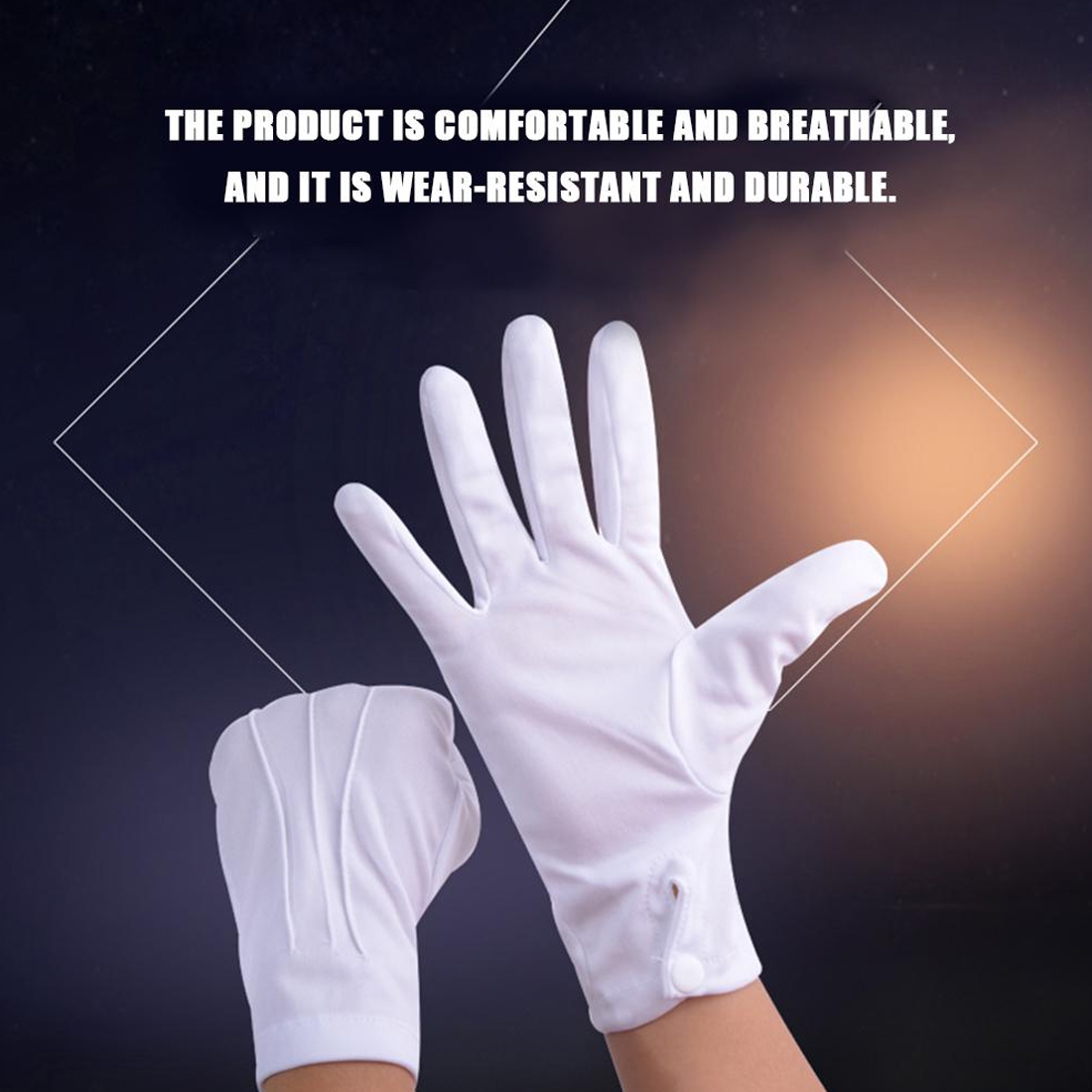 White Gloves Magician Guard Hands Protector Full Finger Men Women Formal Tuxedo Etiquette Gloves Reception Parade
