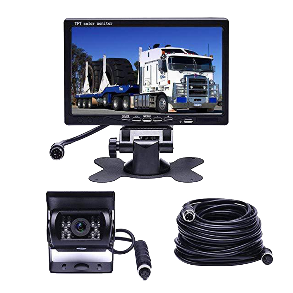 Universal Wide Angle Waterproof Rear View Camera Kit 7 Inch Monitor Night Vision Metal Truck Parking Backup Bus Reversing 18 LED