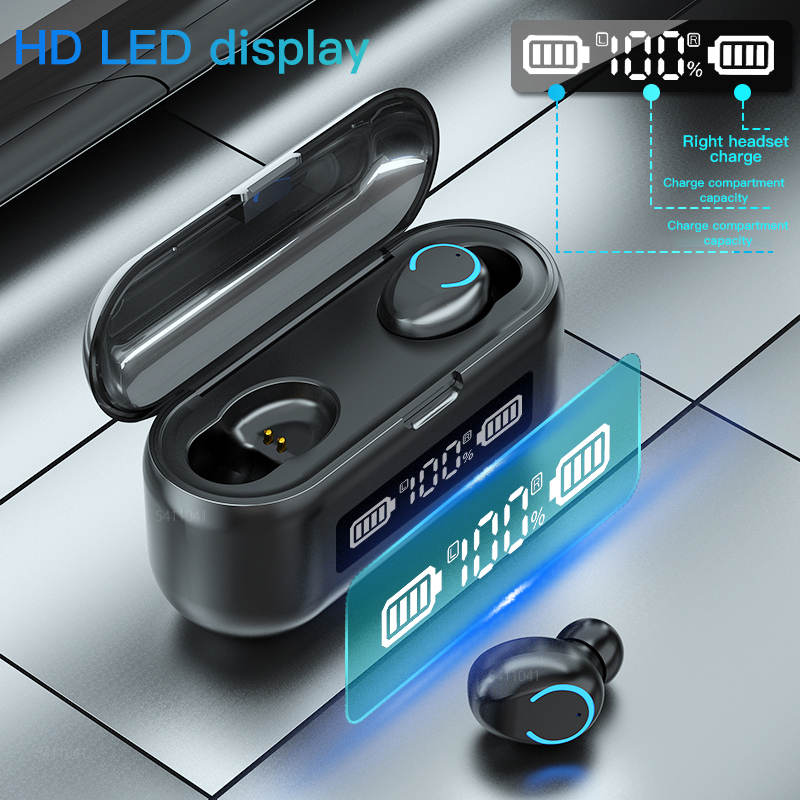 2020 New F9 TWS Bluetooth 5 1 Earphones Wireless Headphones 2000mAh LED Display Sports Waterproof Earbuds 9D Stereo Headsets