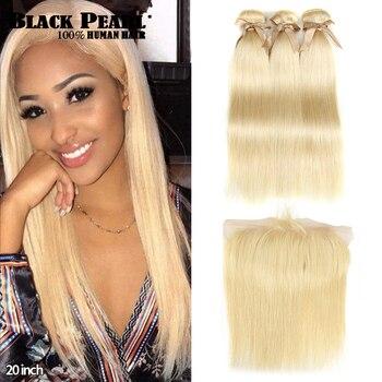 Black Pearl 613 Paquets de blonds avec la frontale droite Remy Paquets de cheveux blonds brésiliens armure de cheveux 2/3 paquets avec Frontal