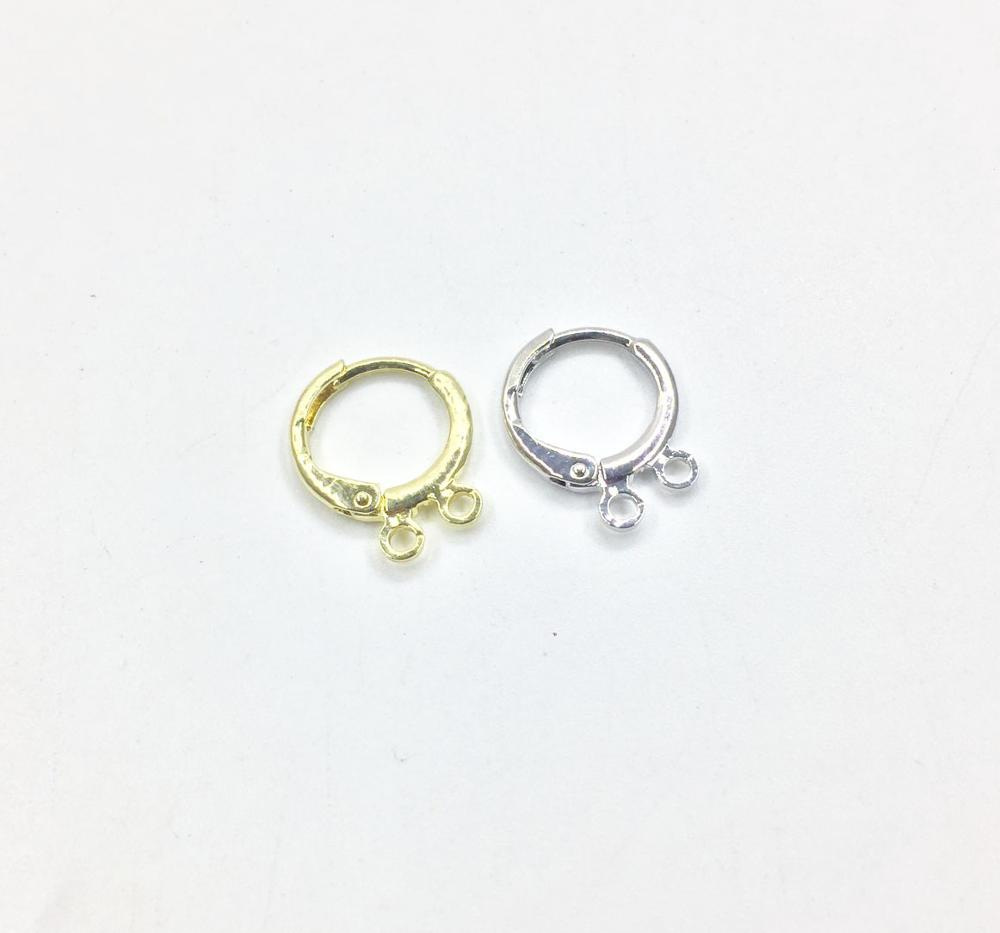 Eruifa 20pcs 12mm Earing Base Connector 2Linker Holder Outer Inner Brass Hoop Clip For Earring DIY 2 Colors Nickle And Lead Free