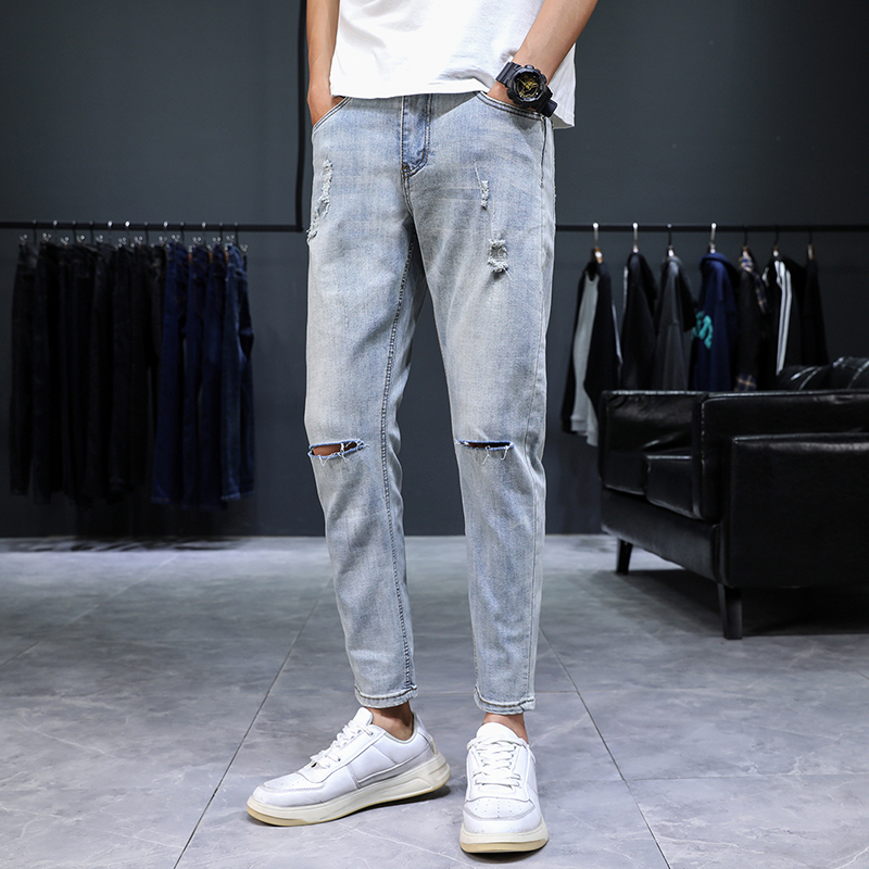 Summer Jeans Men's Slim Fashion Washed Solid Color Casual Hole Jean Pants Men Streetwear Wild Hip Hop Denim Trousers Mens