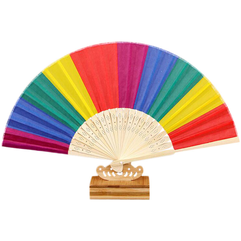 20pcs Lot/lot New arrived 21cm Rainbow Wedding Party Hand Fan Event Party Gifts Hand Fan|Decorative Fans| |  - title=