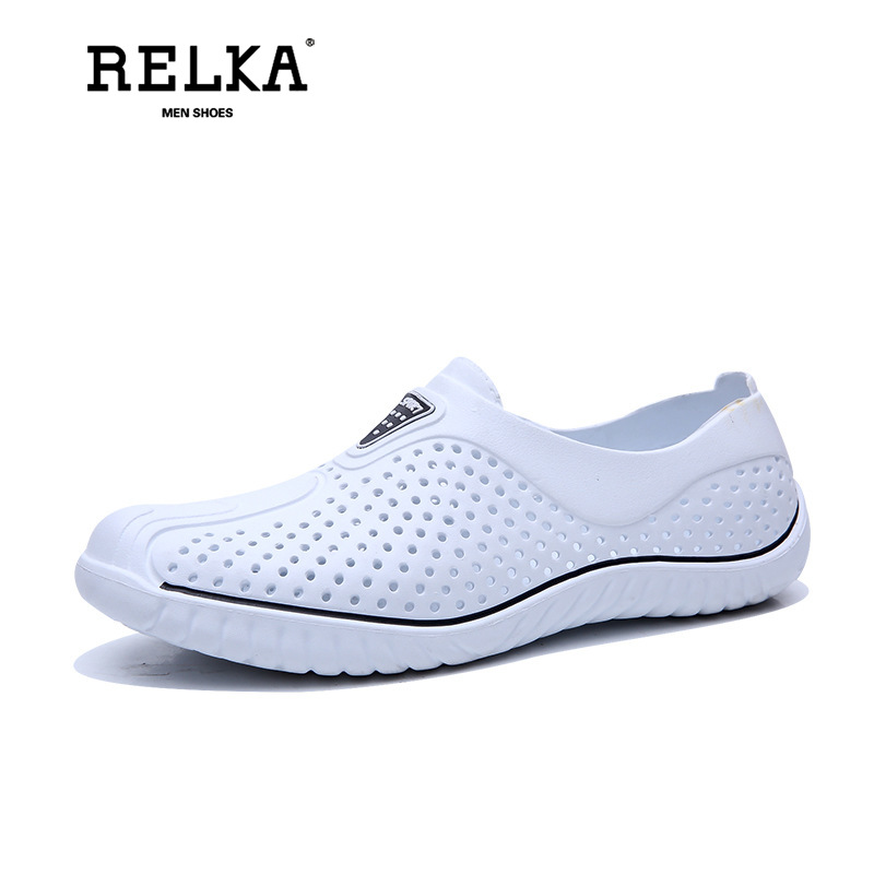RELKA Summer New Men's Cave Shoes Light Breathable Hollow Large Beach Sandals 40-45 White Black Gray Men Sandals L1