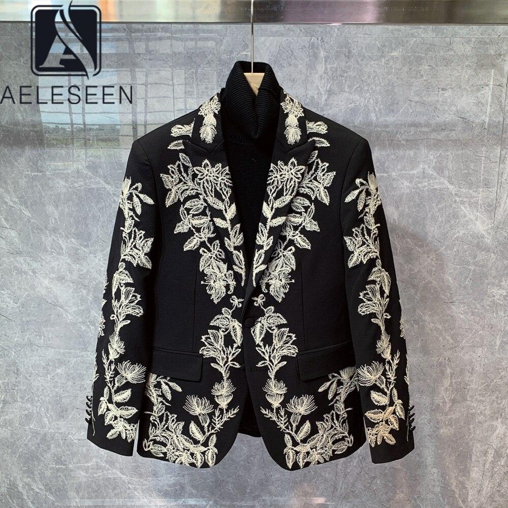 Пиджак AELESEEN женский/мужской, пальто, роскошная черная куртка с цветочной вышивкой, с воротником стойкой, верхняя одежда на осень Пиджаки    АлиЭкспресс