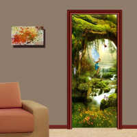 Self Adhesive Renew Home Decor 3d Door Sticker Forest Print Arts Waterproof Wallpaper Mural Wardrobe Renovation Decal Pictures
