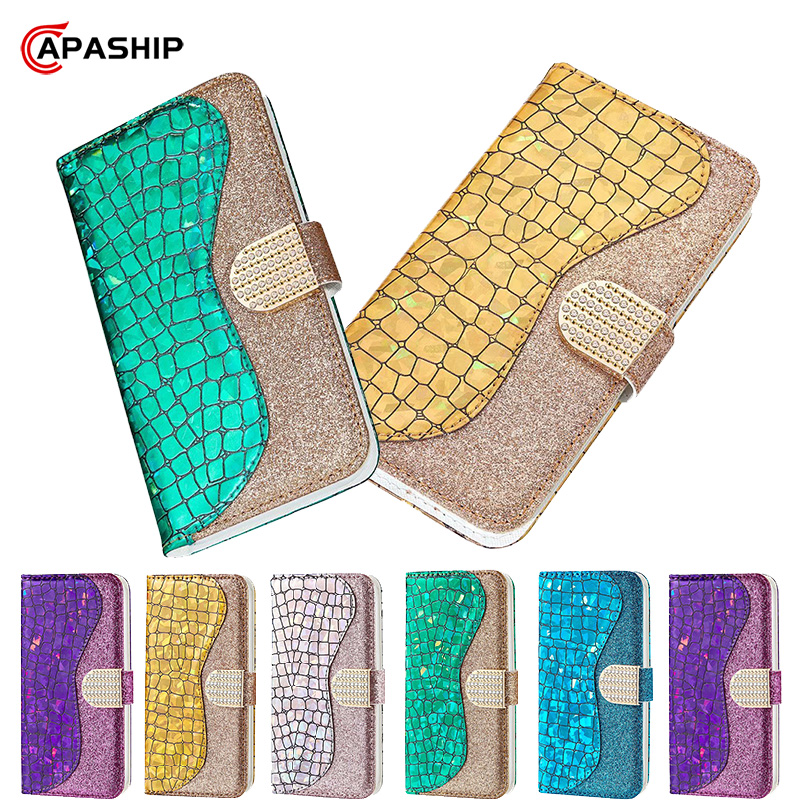Diamond Leather Flip <font><b>Case</b></font> For <font><b>Huawei</b></font> P20 P30 Pro <font><b>P</b></font> <font><b>Smart</b></font> <font><b>2019</b></font> Honor 9 10 lite 8A Nova 3i Cover Glitter Wallet P30Pro <font><b>Phone</b></font> <font><b>Cases</b></font> image