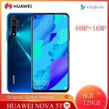 Versão global huawei nova 5t 8gb 128gb câmeras 48mp do smartphone 32mp câmera frontal telefone móvel 6.26 kirkirtela kirin 980 android 9