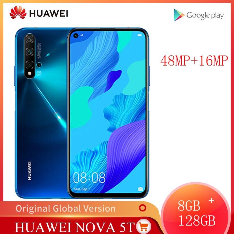Versão global huawei nova 5t 8gb 128gb câmeras 48mp do smartphone 32mp câmera frontal telefone móvel 6.26 kirkirtela kirin 980 android 9|Celulares| - AliExpress
