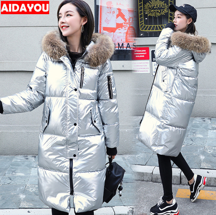 Women Long  Coat Satin Down Jacket Warm Down Parkas Coat Fur Thickening Long Outerwear For Winter Ouc655