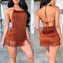 Thereadict Spaghetti Strap Mini Quaste Overall Halter Backless Nachtclub Party Overall Sommer Sexy Overall Frauen Strampler 2020
