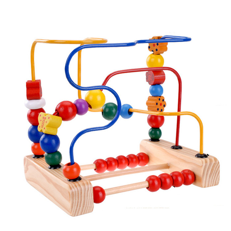 CHILDREN'S Toy Wholesale Educational Intelligence Flowers And Birds Bead-stringing Toy Solid Wood Logs Three-Line Bead-stringing