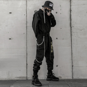 Image 4 - Aelfric エデン 2020 ヒップホップストリートジャンプスーツ男性リボン刺繍カーゴパンツ長袖ロンパースジョギング techwear 男性