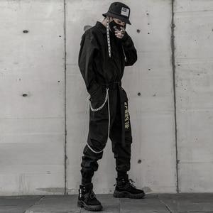 Image 4 - Aelfric Eden 2020 Hip Hop Streetwear Jumpsuits Men Ribbon Embroidered Cargo Pants Long Sleeve Rompers Joggers Techwear Men