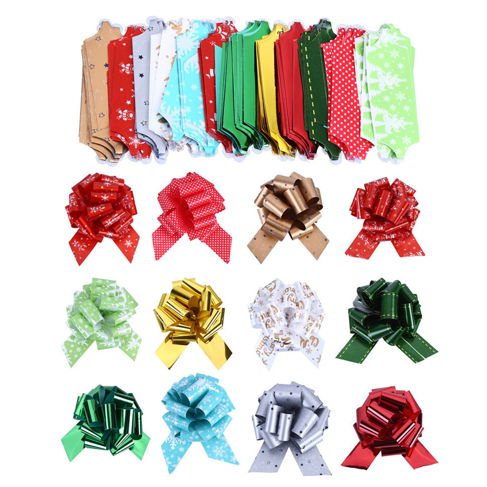 12pcs DIY Merry Christmas Ribbon Bowknot Decoration Ribbons Flower Car Bows Gift Wrapping Props Ornaments Pull Bows For Gifts