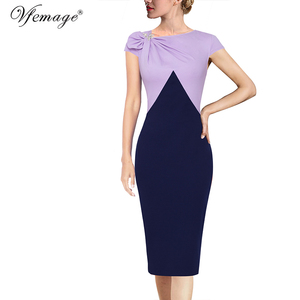 Image 5 - Vfemage Womens Colorblock Floral Solid Pleated Bow Asymmetric Neck Slim Work Office Business Cocktail Party Sheath Dress 18333