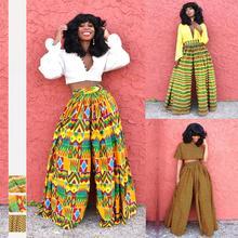Women New Summer African style 3D Digital Printed High-waist Leisure Broad-legged Pants JQ-10027