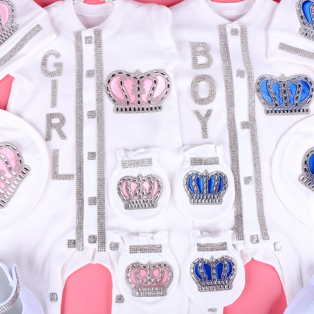 Bodysuit Crystal Crown Newbron Baby White-Color 0-3-Month Cotton with Rhinestone Cloth
