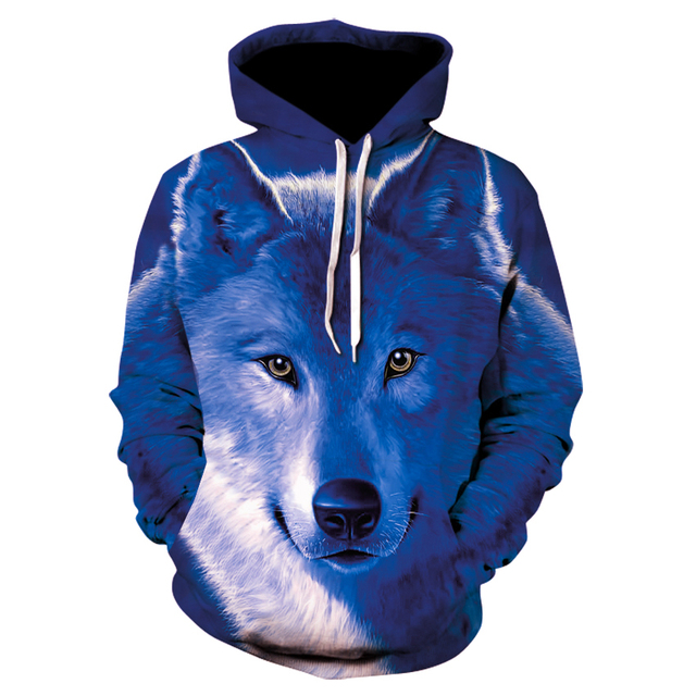 New fashion male and female animal Wolf 3D digital printed pullover hoodie, innovative personality Wolf sweatshirt hoodie