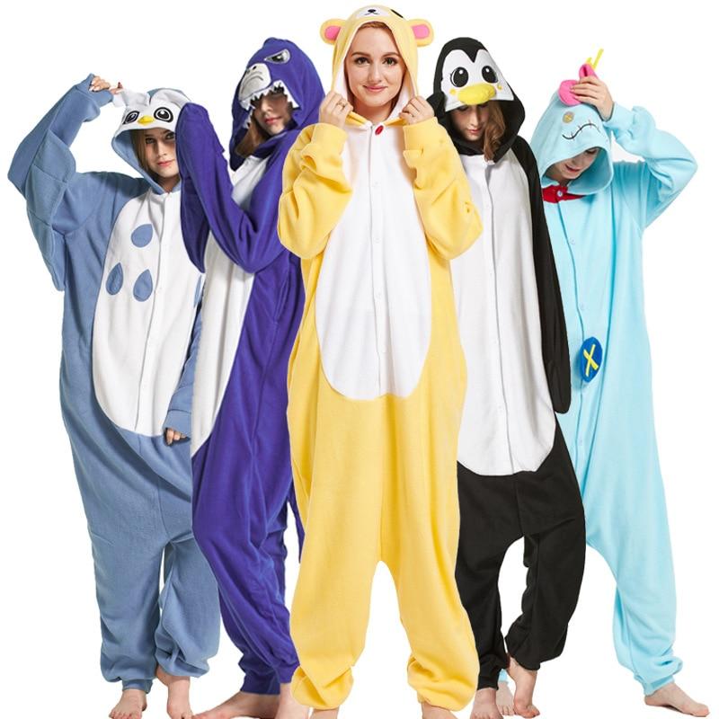 Adults kigurumi Animal Pajamas Women Sleepwear  All in One Pyjama Animal Suits Cosplay unicorn Stitch Garments Cartoon Pijama