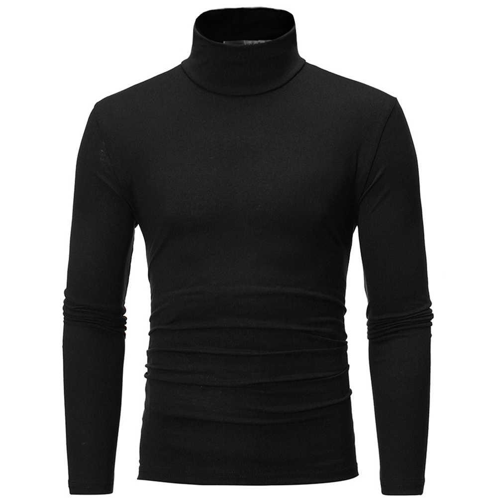 セーター男性ファッションソリッドカラーのセータータートルネックスリムフィットセーター底入れトップ кофта мужская roupas masculinaセーターhombre