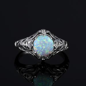 Image 4 - Szjinao אופל טבעת לנשים 925 סטרלינג כסף בציר חן טבעות Fower קסם יוקרה מותג תכשיטי חתונה מתנה 2020