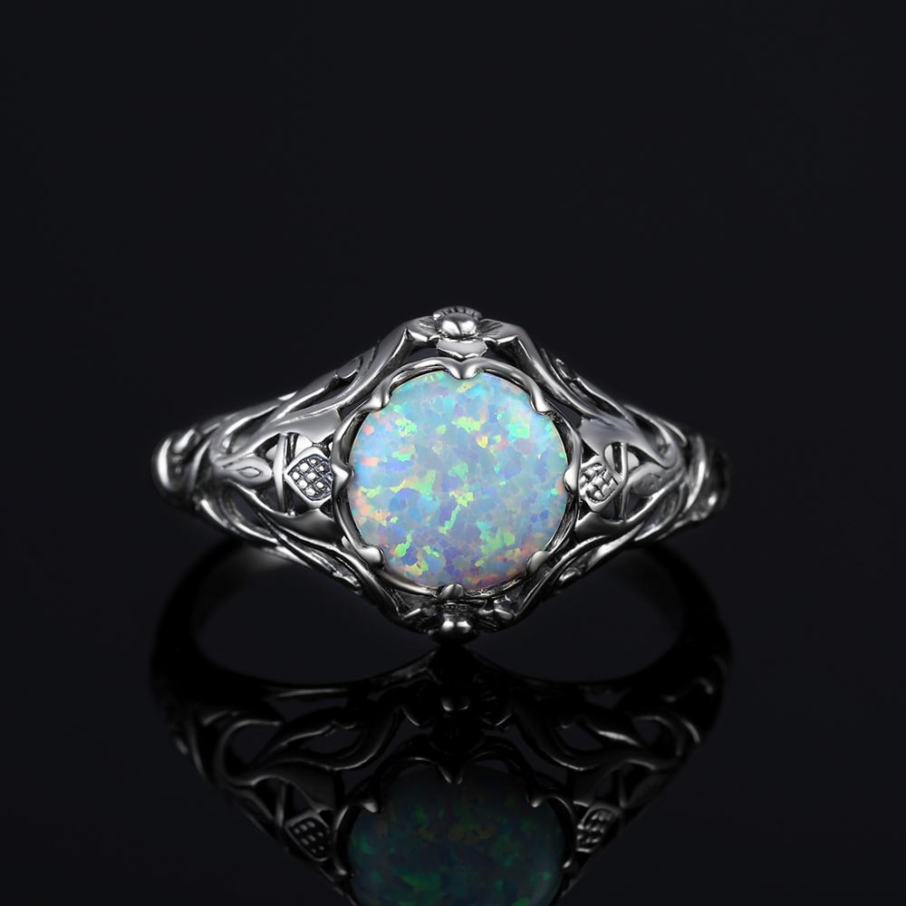 Image 4 - Szjinao Opal Ring For Women 925 Sterling Silver Vintage Gemstone Rings Fower Fascination Luxury Brand Jewelry Wedding Gift 2020ring fashionring forring for sale -