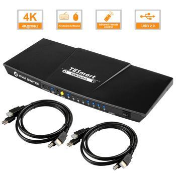 TESmart 4 Port USB HDMI KVM Switch 4x1 KVM Switch HDMI Support 3840*2160/4K*2K Extra USB 2.0 Port with 2 Pcs 5ft KVM Cables d lin k dkvm 4k 4 port kvm