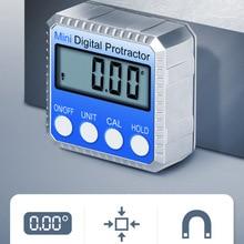 360 학위 미니 디지털 경사계 베벨 상자 레벨 악기 전자 각도기 자기 각도 게이지 파인더 각도계