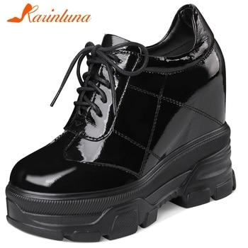 Karinluna New Fashion Large Size 32-40 Patent Leather Increasing Heels Shoes Woman Pumps Lace Up Platform Pumps Women Shoes