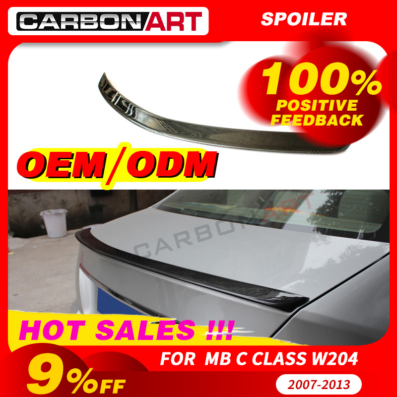 Carbon <font><b>Spoiler</b></font> For <font><b>mercede</b></font> <font><b>C</b></font> <font><b>Class</b></font> Wing Lip <font><b>benz</b></font> <font><b>W204</b></font> C63 C180 C200 C230 C280 C300 C350 2007-2014 2doors 4 Doors image