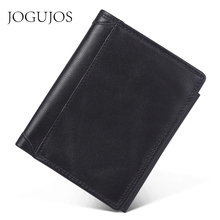 JOGUJOS Genuine Leather Man RFID Wallet Crazy Horse Leather Men Wallet Stitching Black Coin Purse Money Credit Card Holder Purse the first layer of crazy horse leather money man card wallet zipper coin large loading capacity 1007
