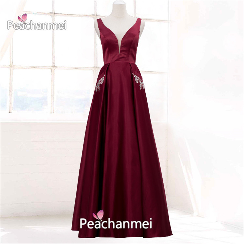 V Neck Formal Evening Dress Long 2020 Beaded A Line Robe De Soiree Prom Dress With Pockets Military Ball Gown Party Dress