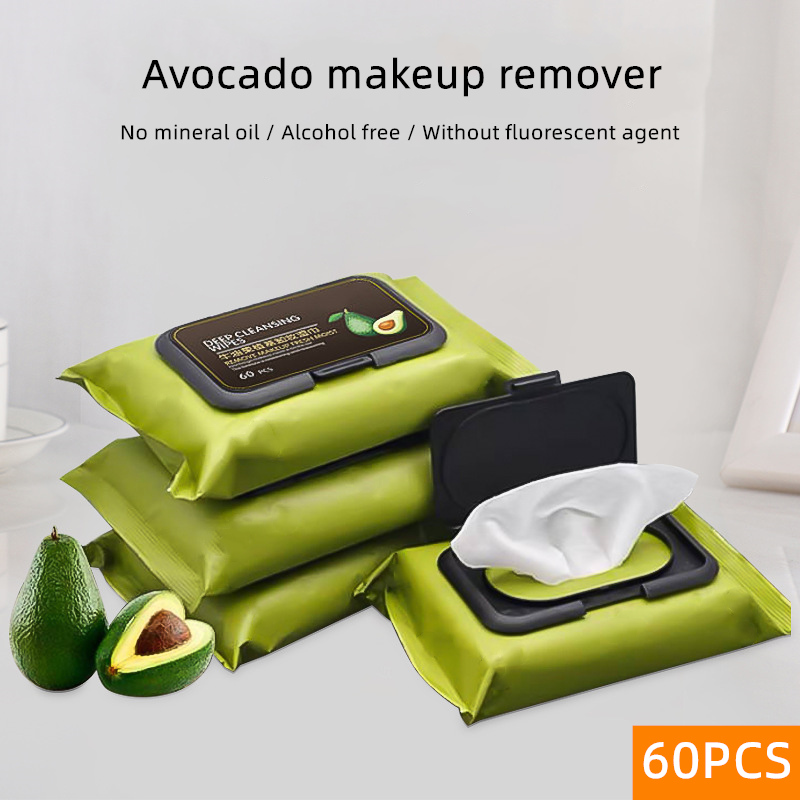 Makeup Remover Wet Wipes Face Deep Cleansing Eyes Moisturizing Pads Make Up Tools Avocado Wipes 60 PCS Skin Care Easy To Carry