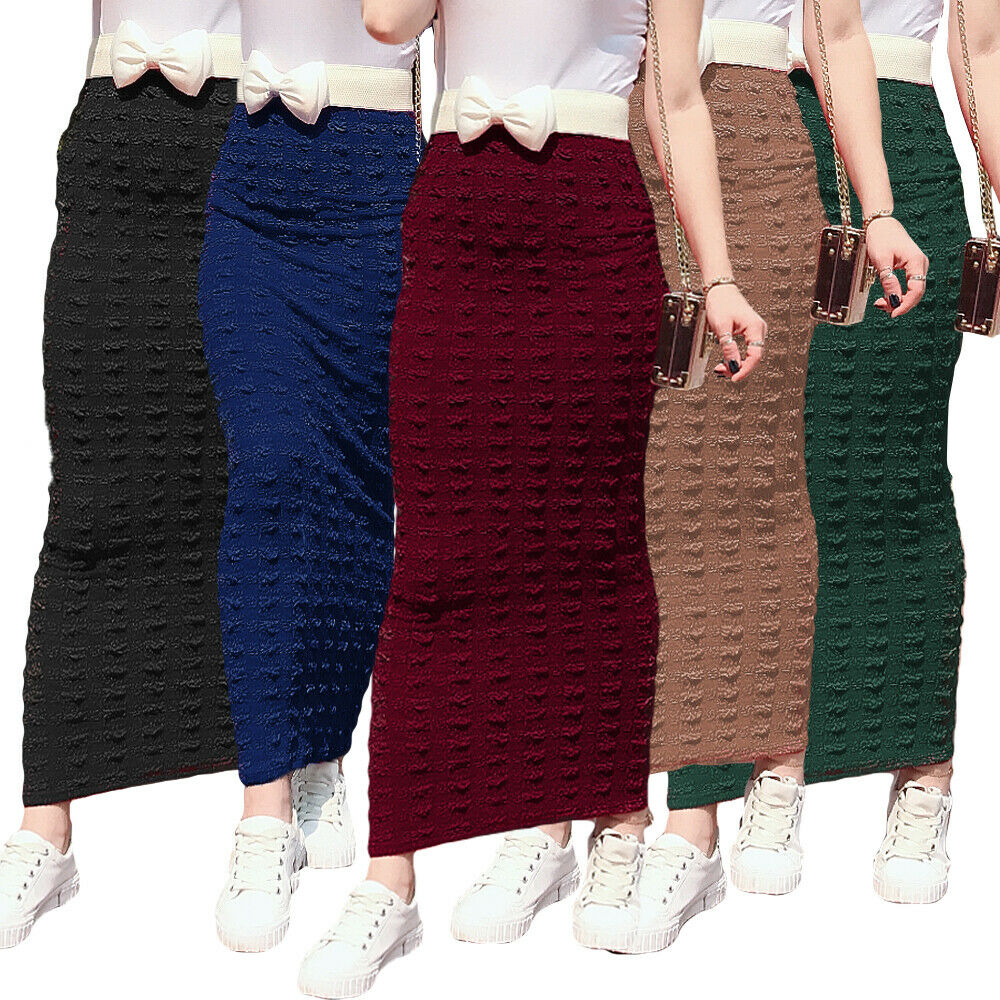 Muslim Women Long Bodycon Pencil Skirt Islamic Stretch Fashion Spring Evening Cocktail Party Knitting Casual Ladies Maxi Skirt
