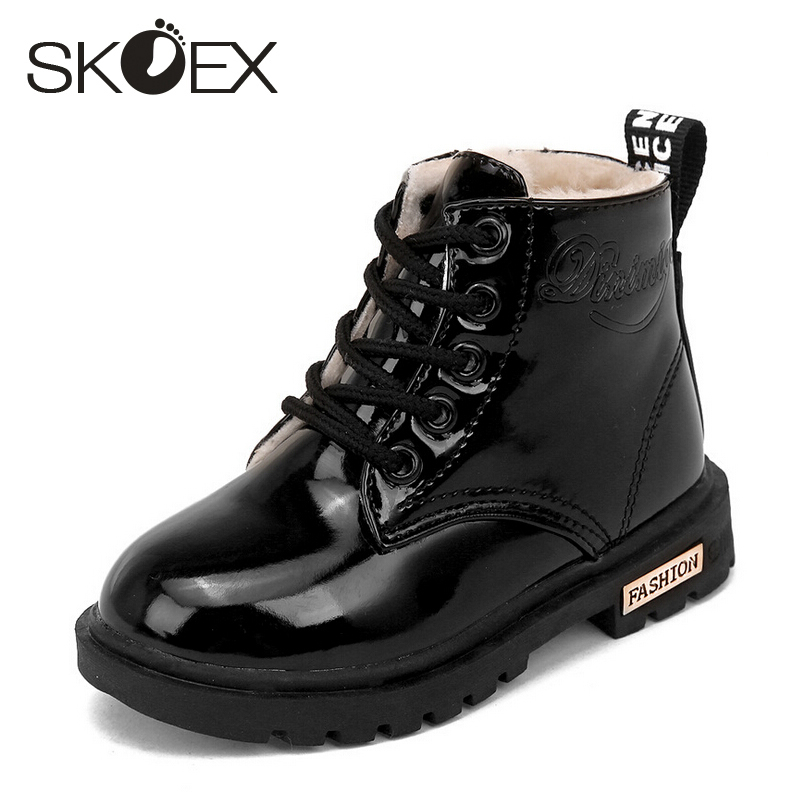 SKOEX Children's Boots Boys Girls Ankle Boots Winter Kids Martin Shoes Boy Short Booties Waterproof PU Child Fashion Sneakers