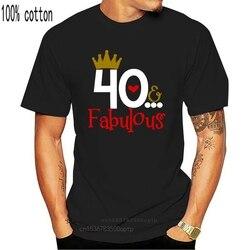 2020 Summer Women T-shirt 40 FABULOUS Ladies 40th Birthday T-shirt 40 Years Friend Mum Mother Present Cute T-shirt