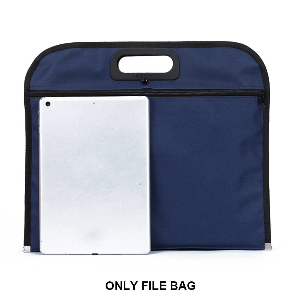 Oxford Cloth File Bag With Handle Zipper Closure Solid Blue Travel Large Capacity Business Document Holder Handbag Multipurpose