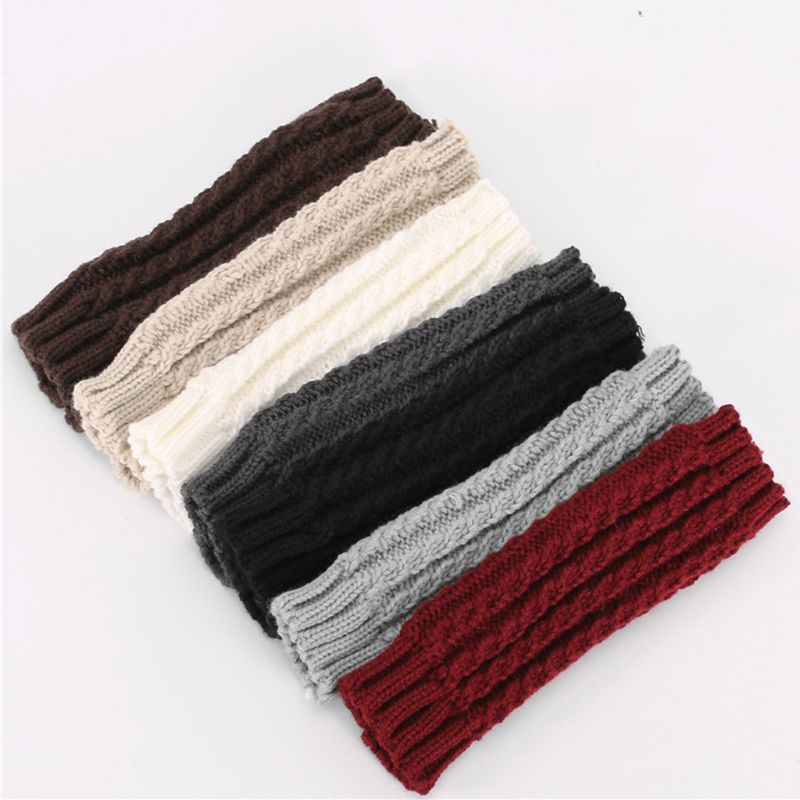 New 2019 Winter Chunky Braided Cable Knit Arm Warmers Womens Mens Solid Color Fingerless Gloves Snow Skiing Outdoor Mittens