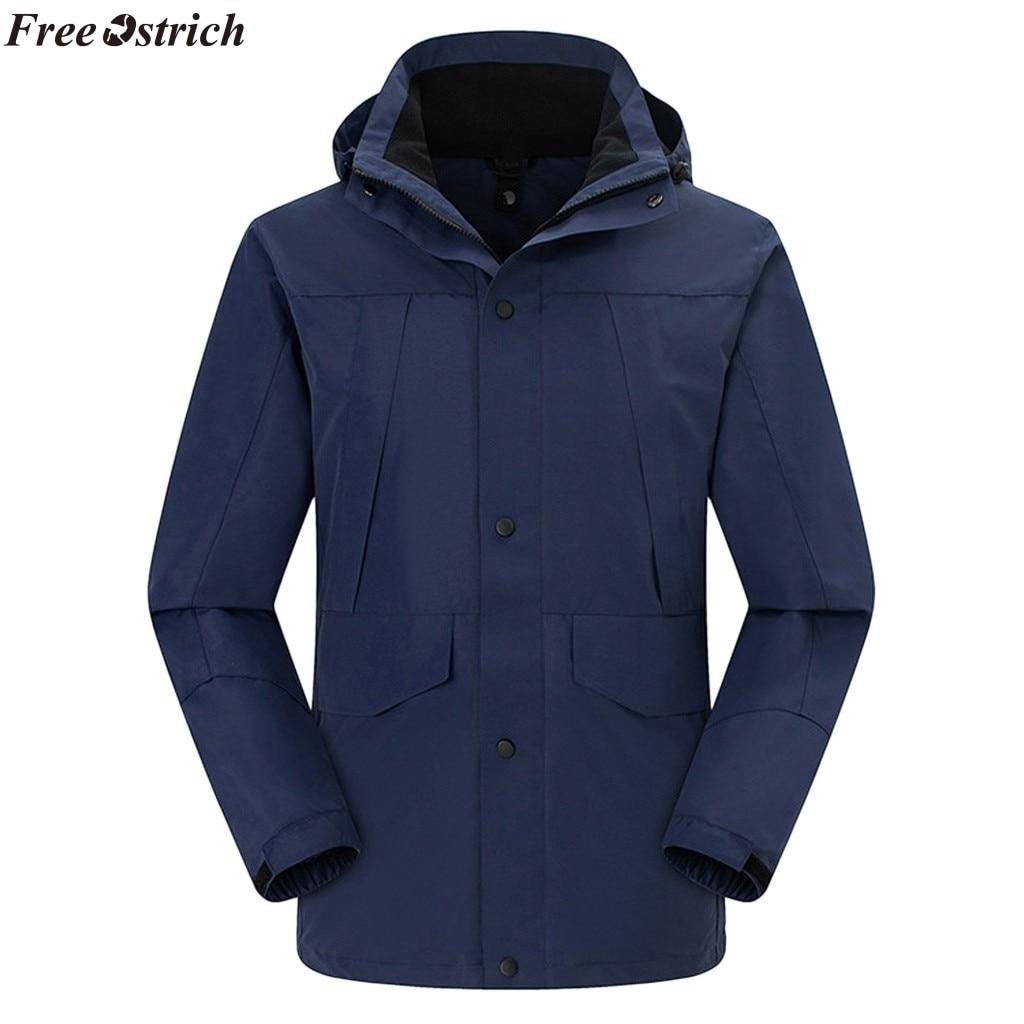 FREE OSTRICH   Men Jacket 2019  Men Waterproof Hoodie Waterproof Detachable Breathable Sport Outdoor Coat,Windproof jacket