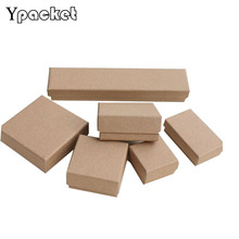 Free Shipping Wholesale Brown Kraft Paper 5*5*3cm Box Jewelry Ring Earring Packaging Boxes