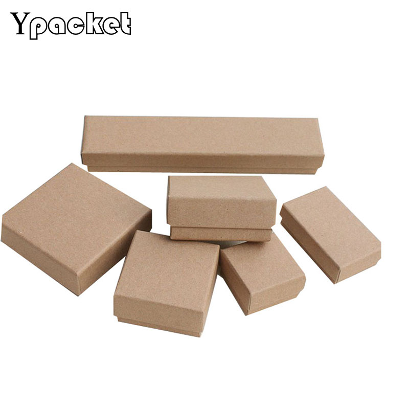 Free Shipping Wholesale Brown Kraft Paper 5*5*3cm Box Jewelry Ring Earring Packaging Boxes Jewellery 100pcs Ring Packing Box