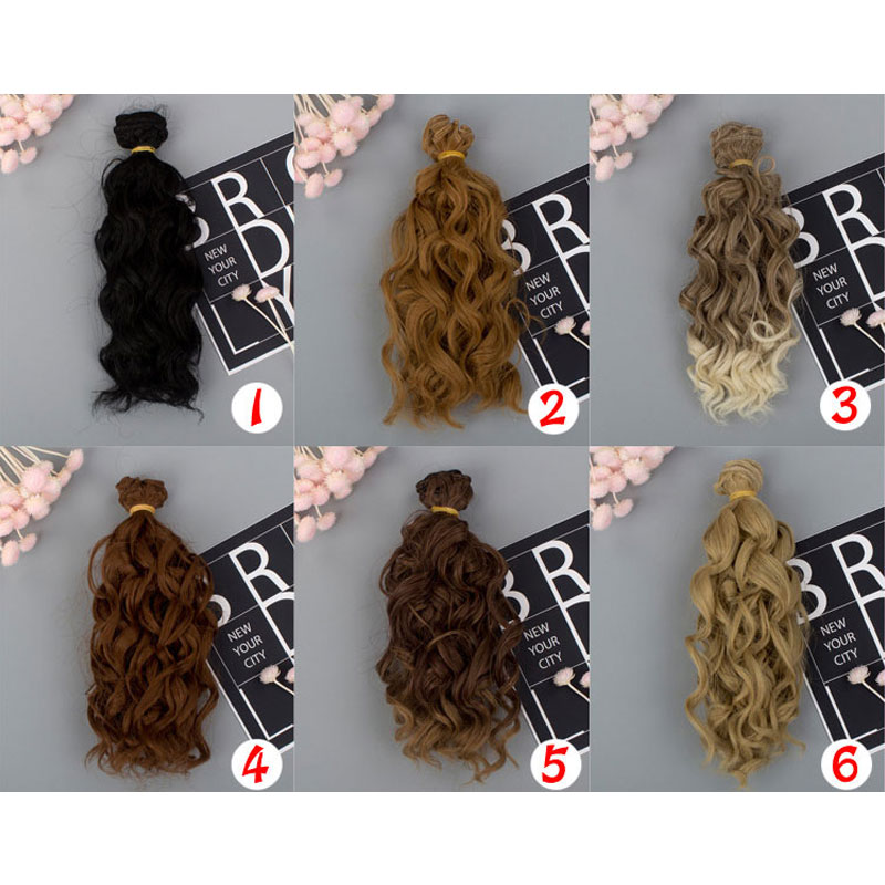 15*100cm Screw Curly Hair Extensions For All Dolls DIY Hair Wigs Heat Resistant Fiber Hair Wefts  Doll Wig Accessories