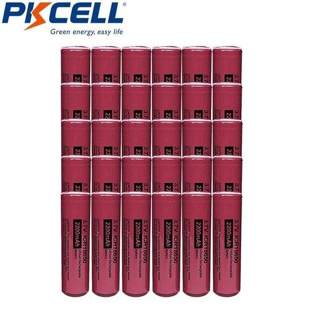 30個pkcell 18650リチウムイオン電池3.7v 2200mah ICR18650充電式電池用前照灯懐中電灯