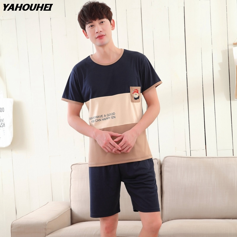 Casual Cartoon Cotton Pajama Set Men 2018 Summer Short Sleeve Pyjama Sleepwear Suit Male O-Neck Homewear Loungewear Home Clothes