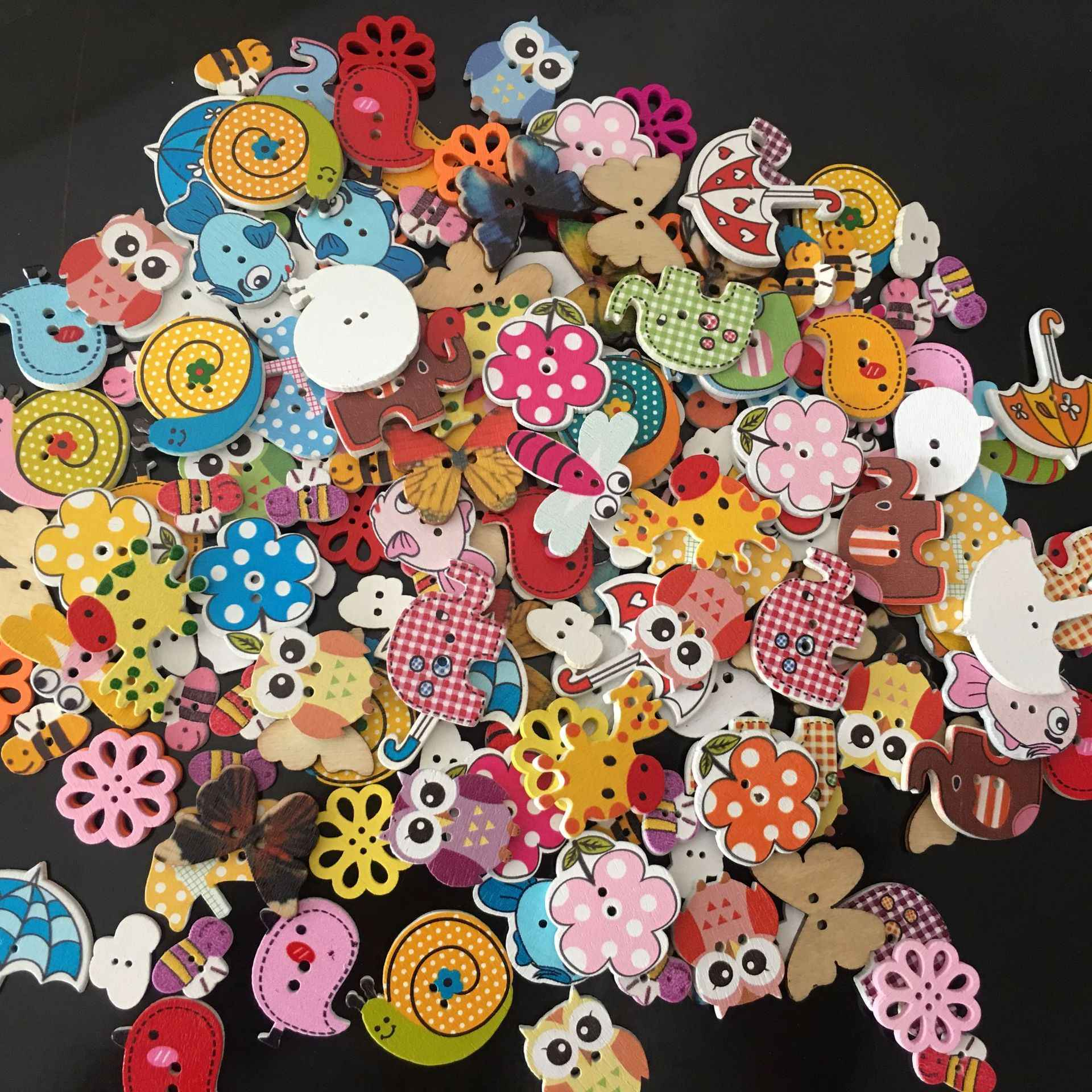 50X Mixed Animal Flower Heart 2 Holes Wood Buttons Sewing Craft Scrapbooking DIY
