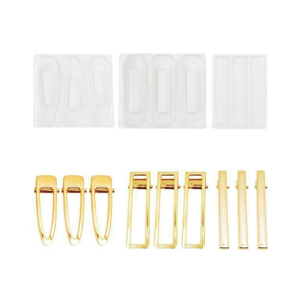 Clipe de Cabelo Moldes + 9 Cristal Cola Epoxy Hairpin Silicone Molde Caseiro Faça Você Mesmo Conjunto 3 Hairpins Barrette Suprimentos Mod. 125728
