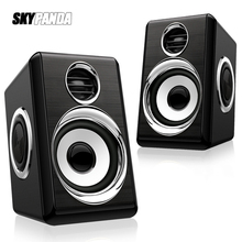 1 Pair USB+AUX Wired Computer Speakers Bass Reinforcement 4 Diaphragm for Laptop Desktop Phone 8W High Power Loudspeaker